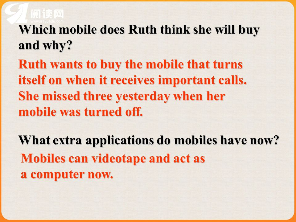 Which mobile does Ruth think she will buy and why.