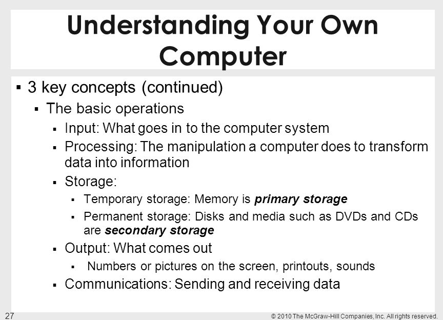 Understanding Your Own Computer 3 key concepts (continued) The basic operations Input: What goes in to the computer system Processing: The manipulatio