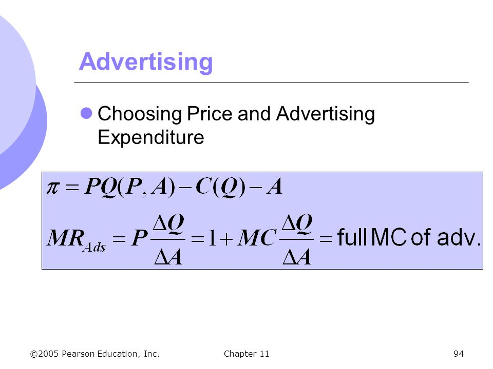 ©2005 Pearson Education, Inc. Chapter 1194 Advertising Choosing Price and Advertising Expenditure