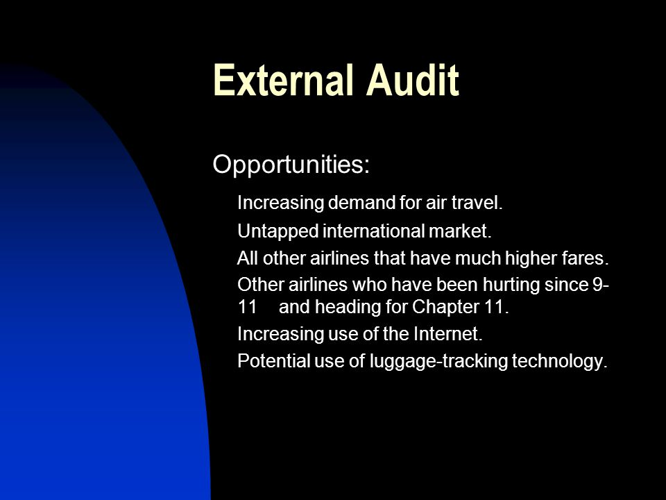 External Audit Opportunities: Increasing demand for air travel. Untapped international market. All other airlines that have much higher fares. Other a