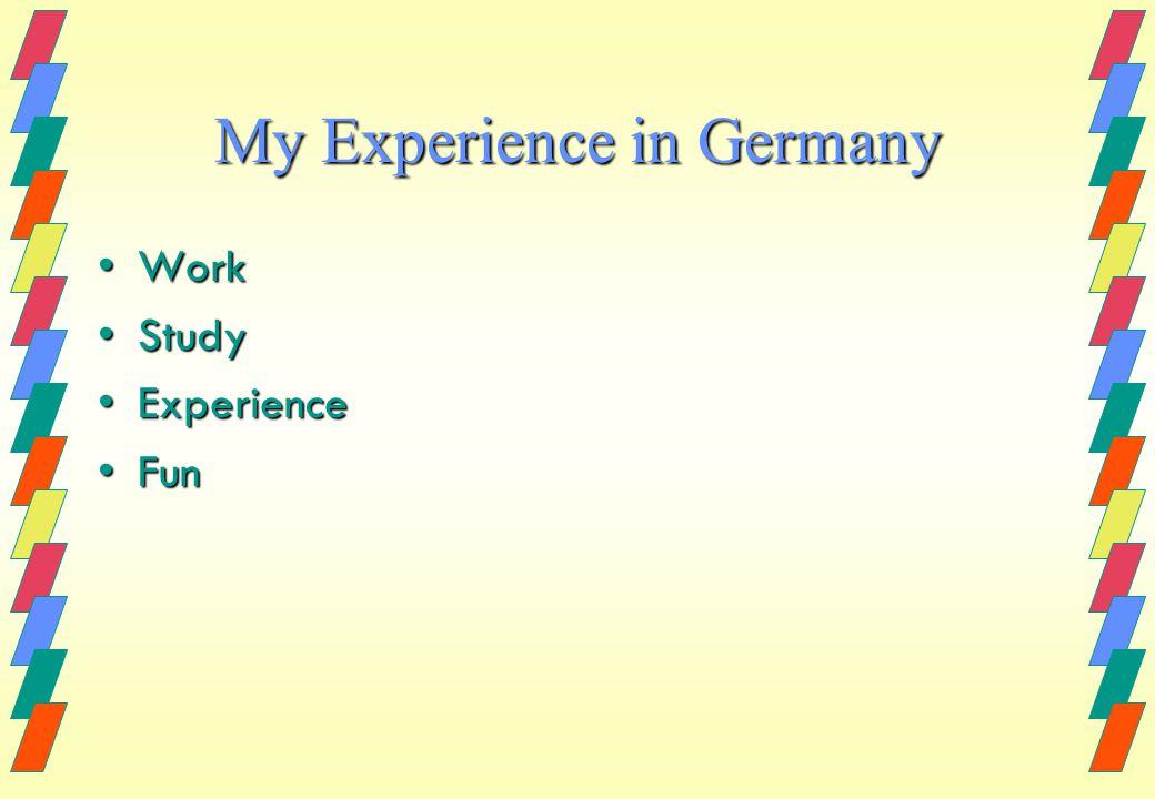 My Experience in Germany WorkWork StudyStudy ExperienceExperience FunFun