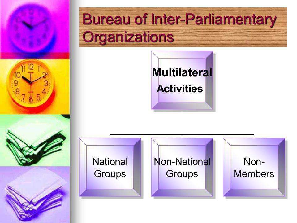 Multilateral Activities National Groups Non-National Groups Non- Members