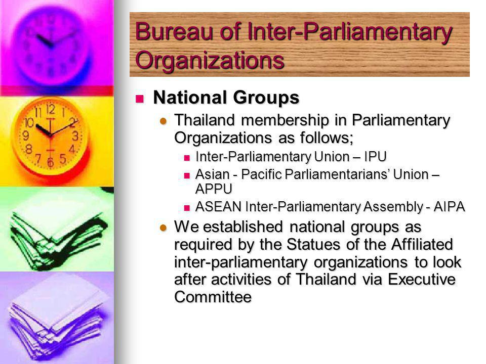 National Groups National Groups Thailand membership in Parliamentary Organizations as follows; Thailand membership in Parliamentary Organizations as follows; Inter-Parliamentary Union – IPU Inter-Parliamentary Union – IPU Asian - Pacific Parliamentarians Union – APPU Asian - Pacific Parliamentarians Union – APPU ASEAN Inter-Parliamentary Assembly - AIPA ASEAN Inter-Parliamentary Assembly - AIPA We established national groups as required by the Statues of the Affiliated inter-parliamentary organizations to look after activities of Thailand via Executive Committee We established national groups as required by the Statues of the Affiliated inter-parliamentary organizations to look after activities of Thailand via Executive Committee Bureau of Inter-Parliamentary Organizations