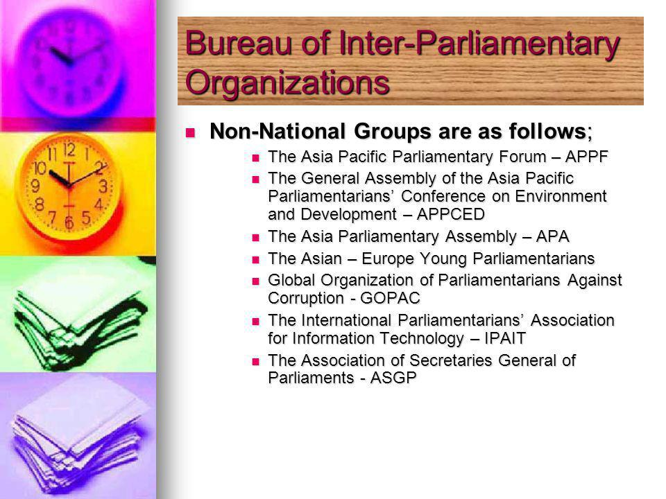 Non-National Groups are as follows; Non-National Groups are as follows; The Asia Pacific Parliamentary Forum – APPF The Asia Pacific Parliamentary Forum – APPF The General Assembly of the Asia Pacific Parliamentarians Conference on Environment and Development – APPCED The General Assembly of the Asia Pacific Parliamentarians Conference on Environment and Development – APPCED The Asia Parliamentary Assembly – APA The Asia Parliamentary Assembly – APA The Asian – Europe Young Parliamentarians The Asian – Europe Young Parliamentarians Global Organization of Parliamentarians Against Corruption - GOPAC Global Organization of Parliamentarians Against Corruption - GOPAC The International Parliamentarians Association for Information Technology – IPAIT The International Parliamentarians Association for Information Technology – IPAIT The Association of Secretaries General of Parliaments - ASGP The Association of Secretaries General of Parliaments - ASGP Bureau of Inter-Parliamentary Organizations