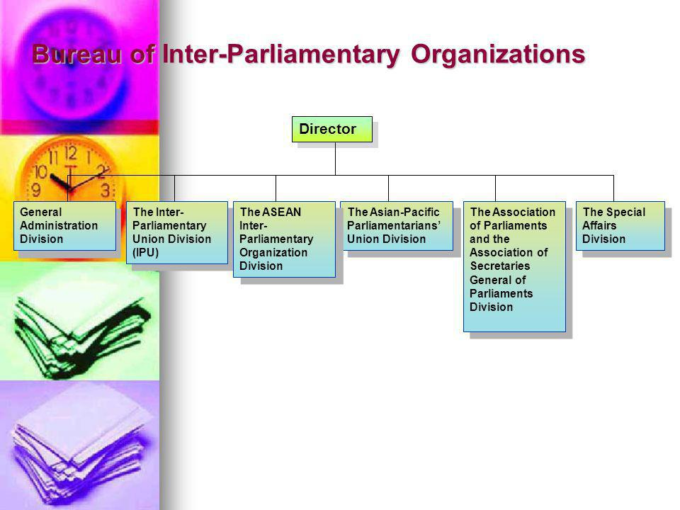 Bureau of Inter-Parliamentary Organizations Director General Administration Division The Inter- Parliamentary Union Division (IPU) The Asian-Pacific Parliamentarians Union Division The Special Affairs Division The Association of Parliaments and the Association of Secretaries General of Parliaments Division The ASEAN Inter- Parliamentary Organization Division