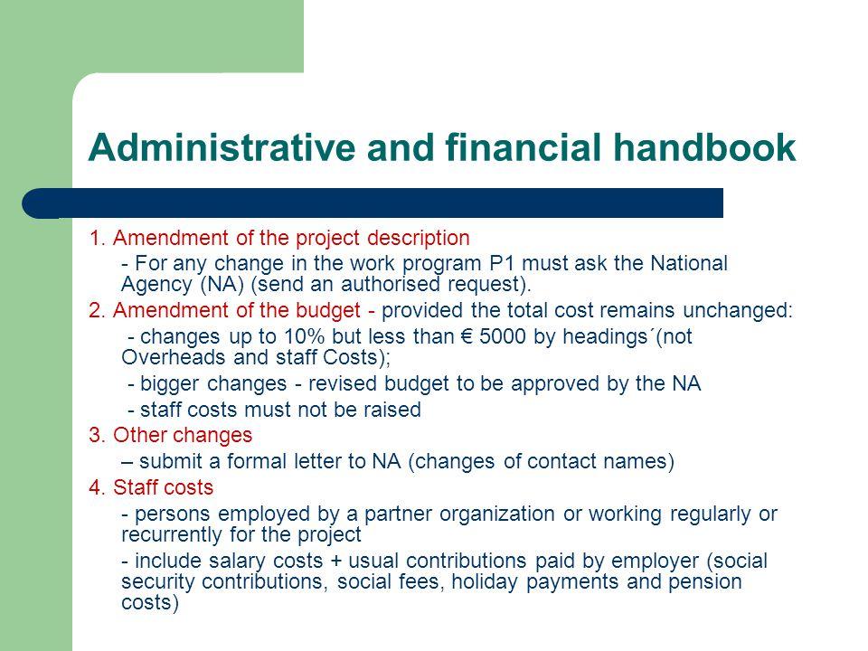 Administrative and financial handbook 1.