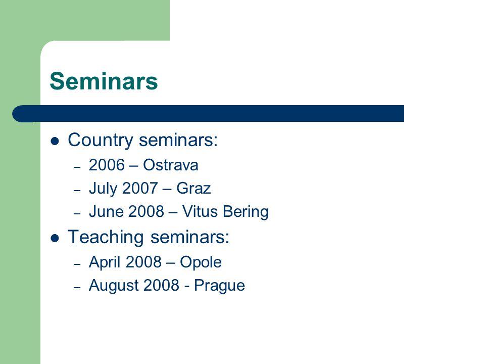 Seminars Country seminars: – 2006 – Ostrava – July 2007 – Graz – June 2008 – Vitus Bering Teaching seminars: – April 2008 – Opole – August 2008 - Prague