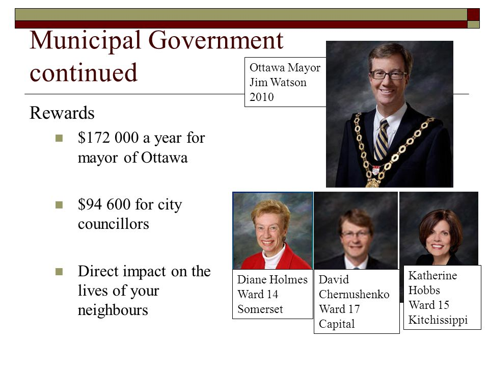 Municipal Government continued Rewards $172 000 a year for mayor of Ottawa $94 600 for city councillors Direct impact on the lives of your neighbours