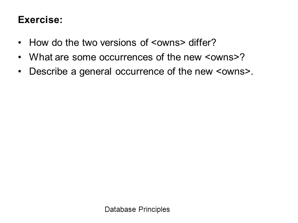 Database Principles Exercise: How do the two versions of differ? What are some occurrences of the new ? Describe a general occurrence of the new.