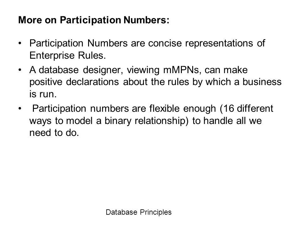 Database Principles More on Participation Numbers: Participation Numbers are concise representations of Enterprise Rules. A database designer, viewing