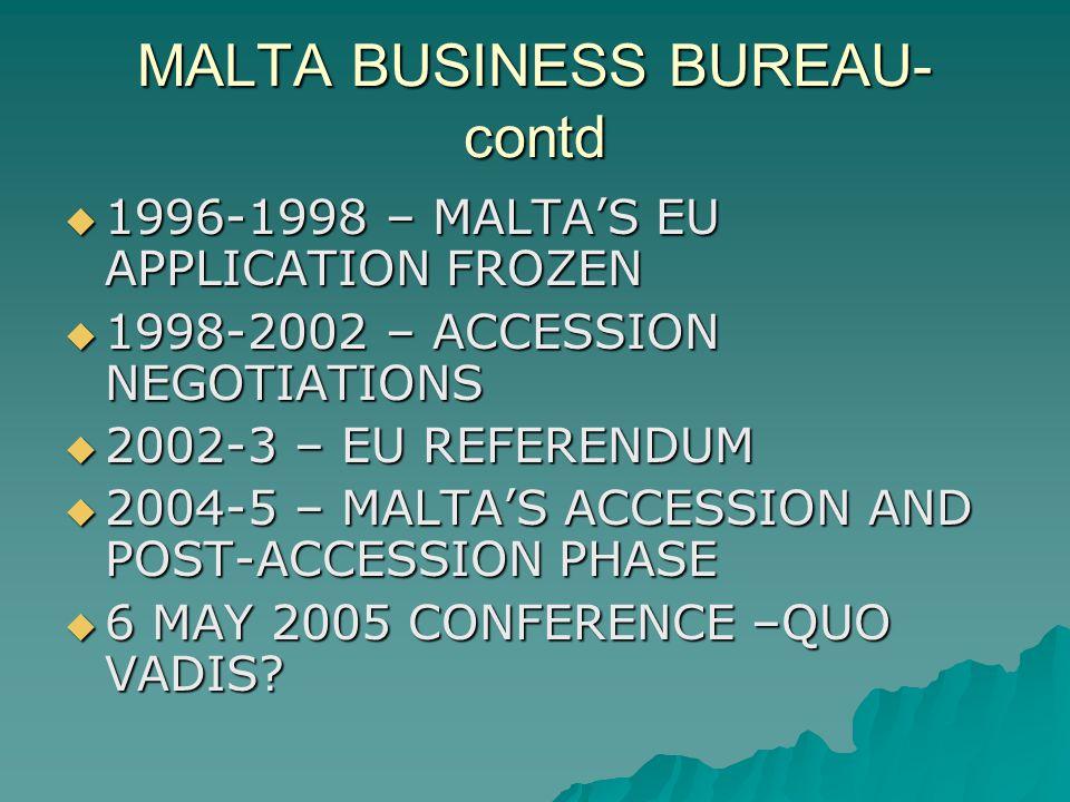MALTA BUSINESS BUREAU- contd 1996-1998 – MALTAS EU APPLICATION FROZEN 1996-1998 – MALTAS EU APPLICATION FROZEN 1998-2002 – ACCESSION NEGOTIATIONS 1998-2002 – ACCESSION NEGOTIATIONS 2002-3 – EU REFERENDUM 2002-3 – EU REFERENDUM 2004-5 – MALTAS ACCESSION AND POST-ACCESSION PHASE 2004-5 – MALTAS ACCESSION AND POST-ACCESSION PHASE 6 MAY 2005 CONFERENCE –QUO VADIS.