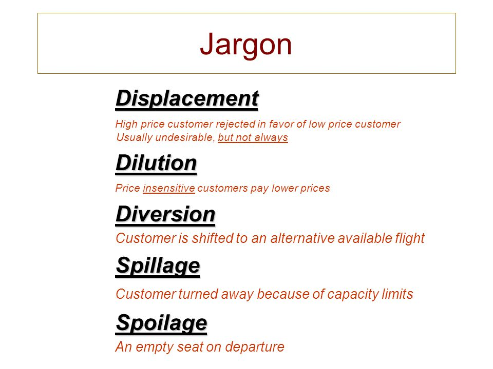 Jargon Displacement Displacement High price customer rejected in favor of low price customer Usually undesirable, but not always Dilution Dilution Pri
