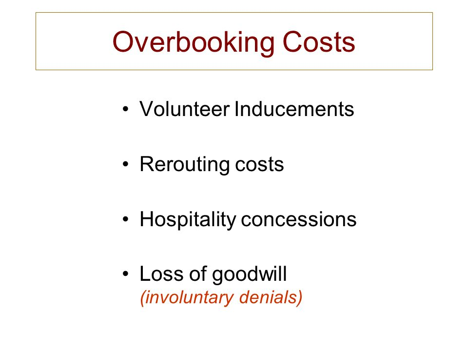 Overbooking Costs Volunteer Inducements Rerouting costs Hospitality concessions Loss of goodwill (involuntary denials)