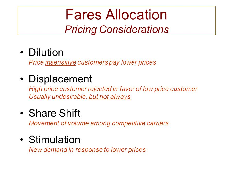 Fares Allocation Pricing Considerations Dilution Price insensitive customers pay lower prices Displacement High price customer rejected in favor of lo