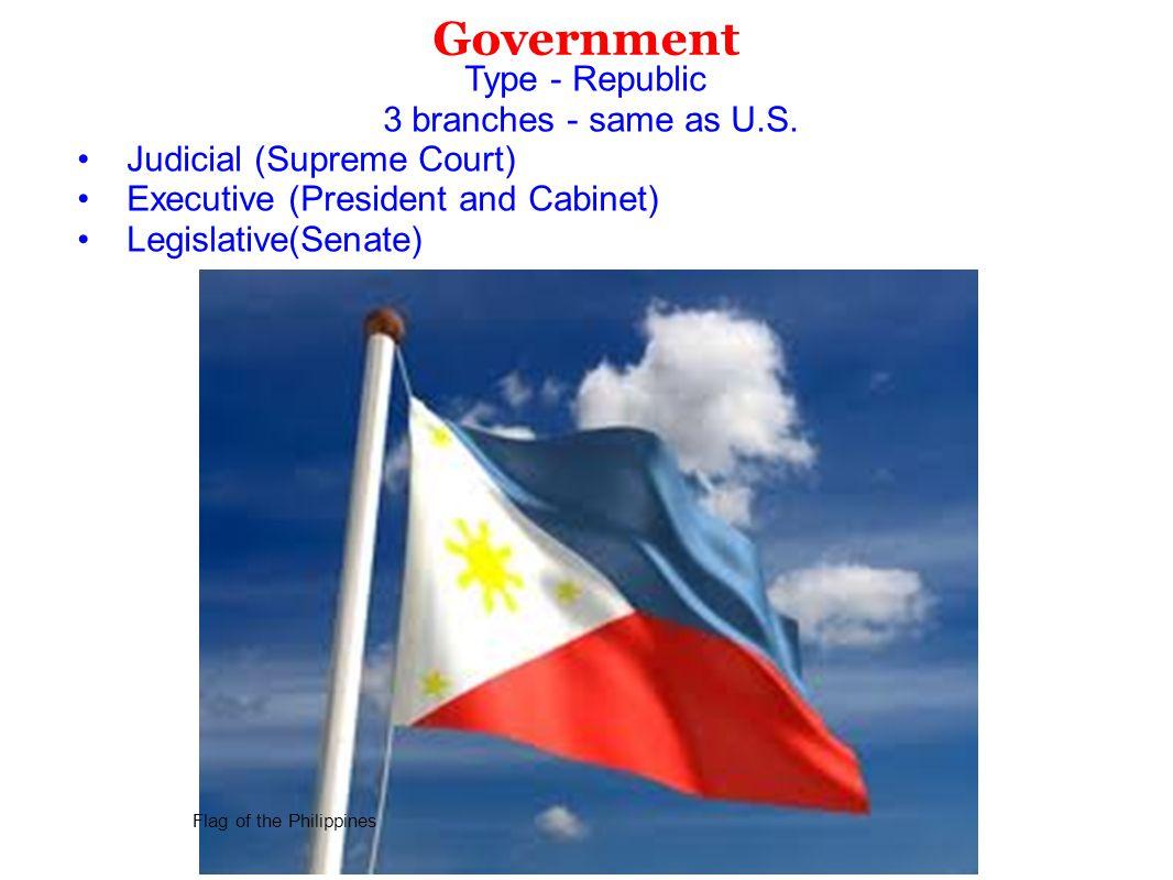 Government Type - Republic 3 branches - same as U.S. Judicial (Supreme Court) Executive (President and Cabinet) Legislative(Senate) Flag of the Philip