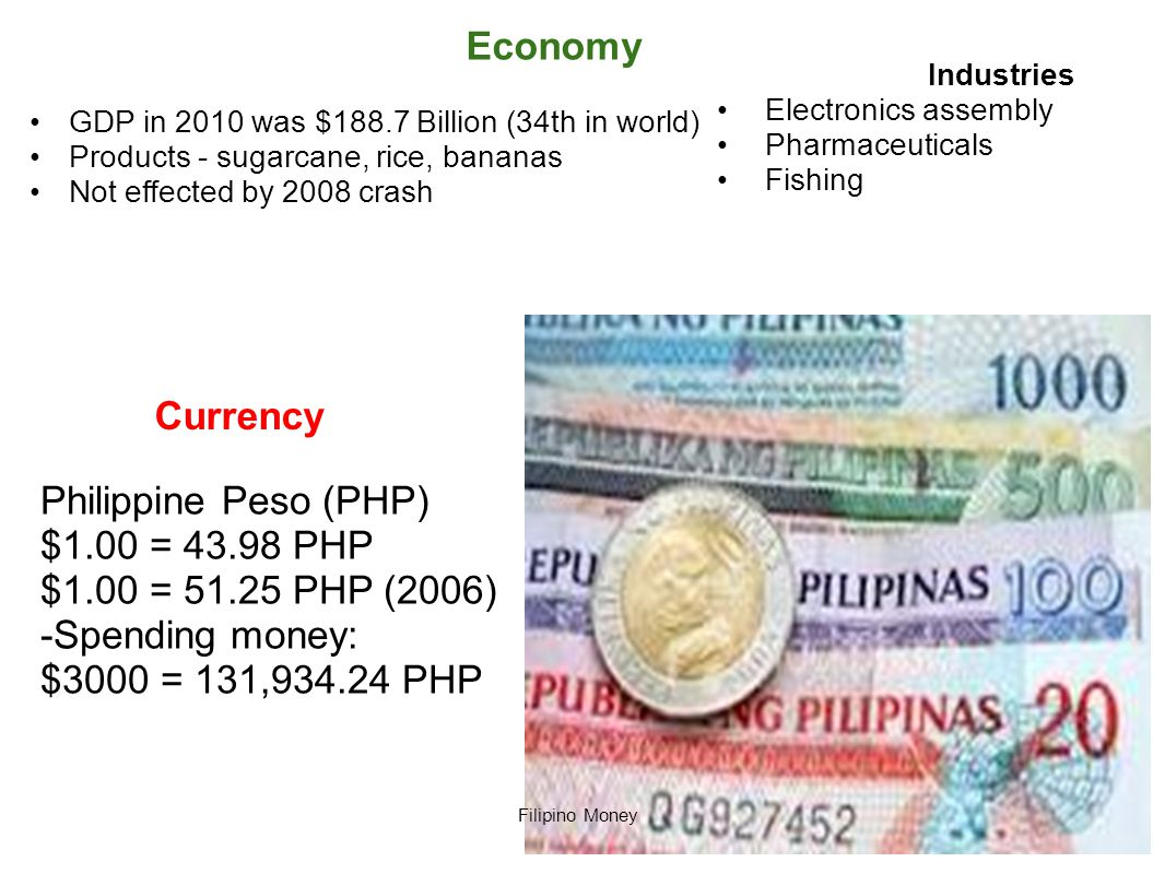 Economy GDP in 2010 was $188.7 Billion (34th in world) Products - sugarcane, rice, bananas Not effected by 2008 crash Filipino Money Industries Electr