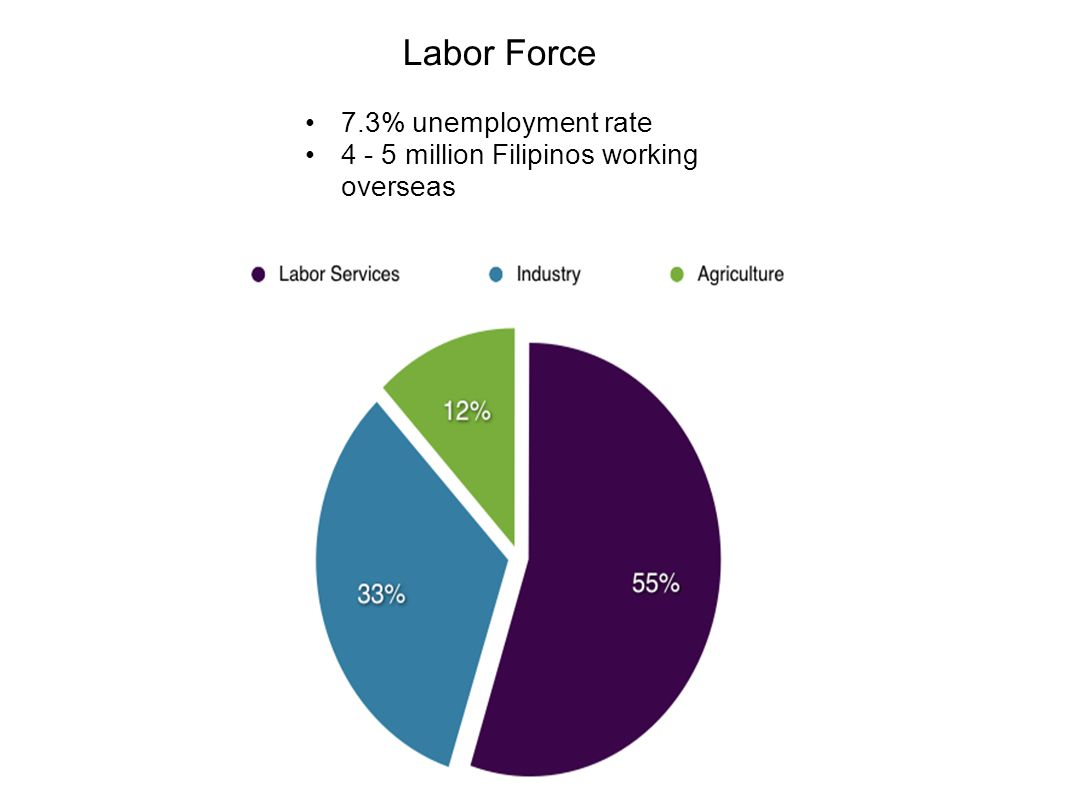 Labor Force 7.3% unemployment rate 4 - 5 million Filipinos working overseas