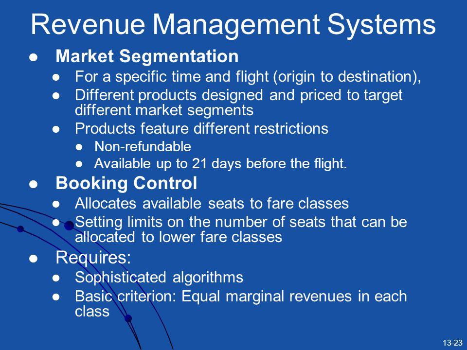 13-23 Revenue Management Systems Market Segmentation For a specific time and flight (origin to destination), Different products designed and priced to