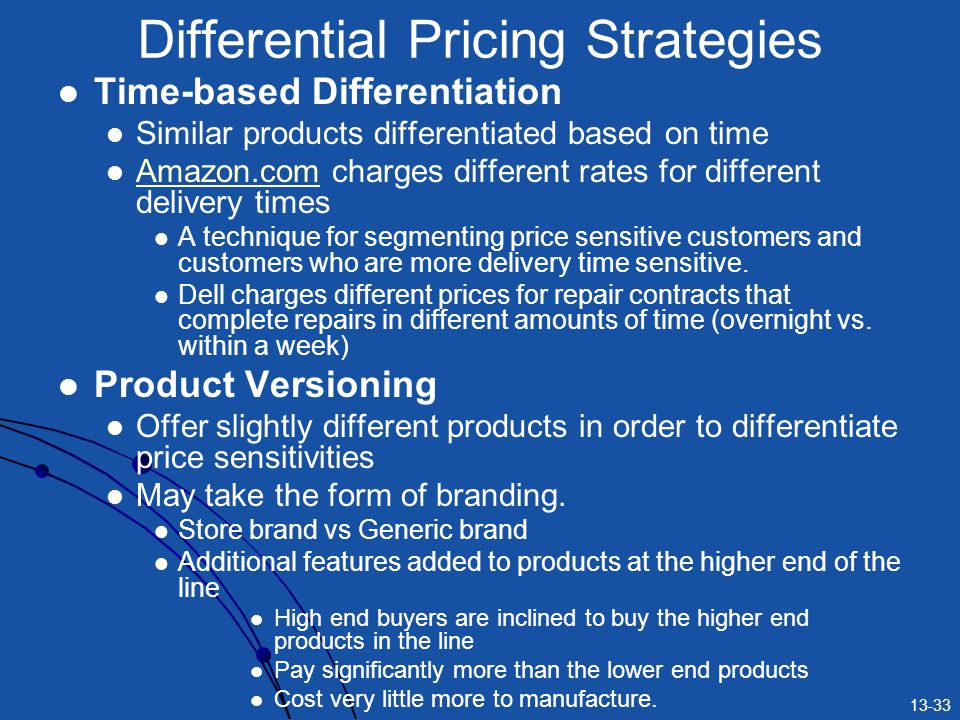 13-33 Time-based Differentiation Similar products differentiated based on time Amazon.com charges different rates for different delivery times Amazon.