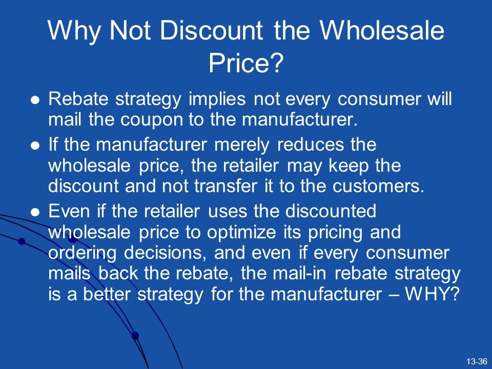 13-36 Why Not Discount the Wholesale Price? Rebate strategy implies not every consumer will mail the coupon to the manufacturer. If the manufacturer m