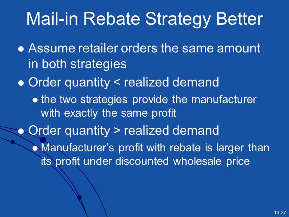 13-37 Mail-in Rebate Strategy Better Assume retailer orders the same amount in both strategies Order quantity < realized demand the two strategies provide the manufacturer with exactly the same profit Order quantity > realized demand Manufacturers profit with rebate is larger than its profit under discounted wholesale price
