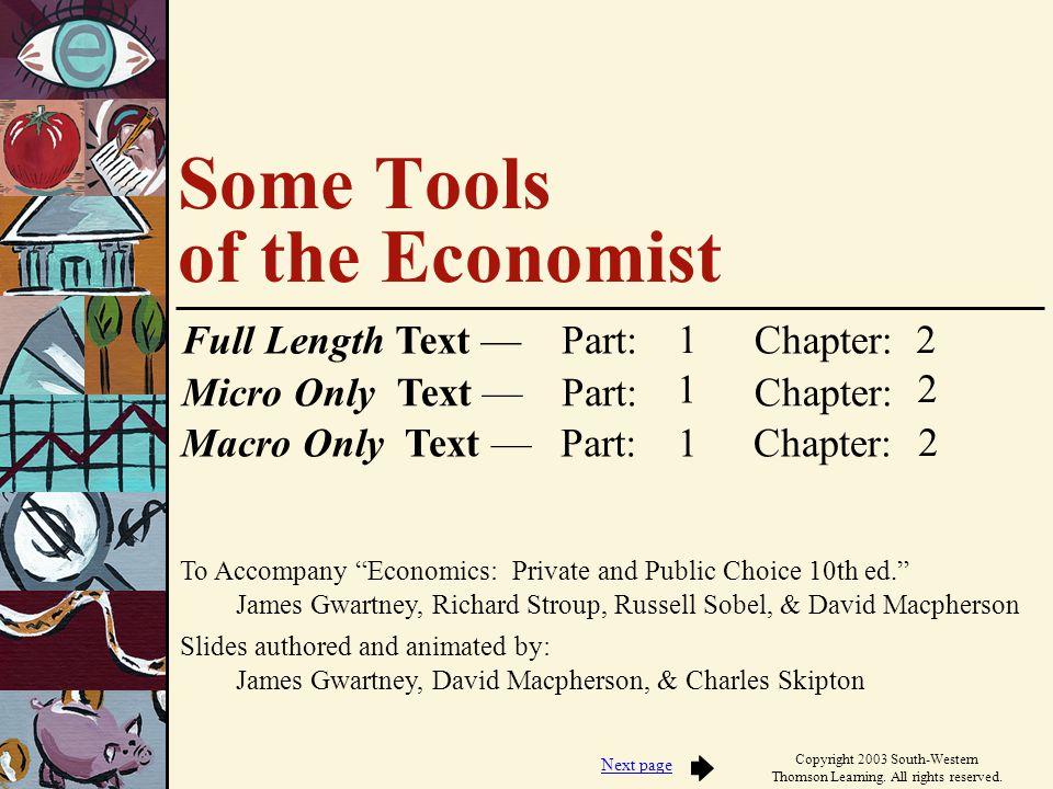 To Accompany Economics: Private and Public Choice 10th ed. James Gwartney, Richard Stroup, Russell Sobel, & David Macpherson Slides authored and anima