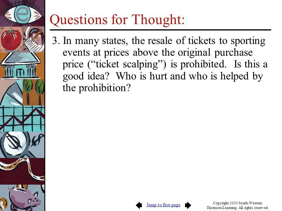Jump to first page Copyright 2003 South-Western Thomson Learning. All rights reserved. Questions for Thought: 3. In many states, the resale of tickets