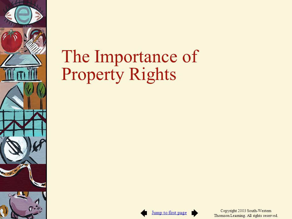 Jump to first page Copyright 2003 South-Western Thomson Learning. All rights reserved. The Importance of Property Rights