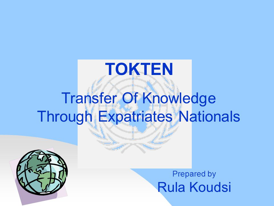 Transfer Of Knowledge Through Expatriates Nationals TOKTEN Prepared by Rula Koudsi