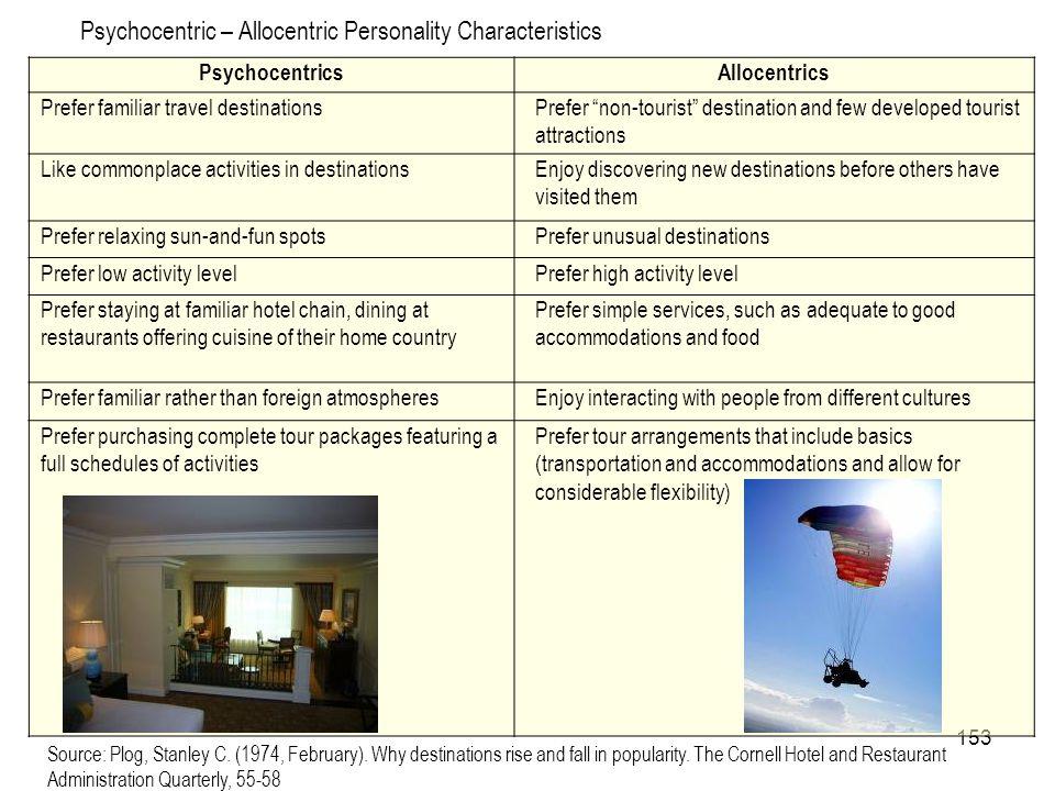 153 Psychocentric – Allocentric Personality Characteristics PsychocentricsAllocentrics Prefer familiar travel destinationsPrefer non-tourist destinati
