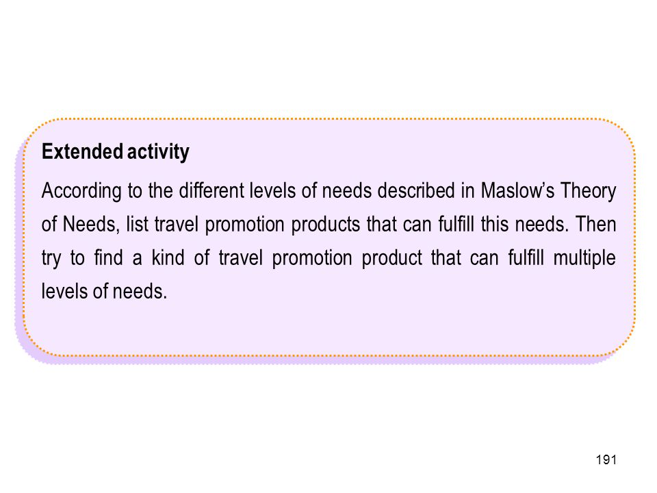 191 Extended activity According to the different levels of needs described in Maslows Theory of Needs, list travel promotion products that can fulfill