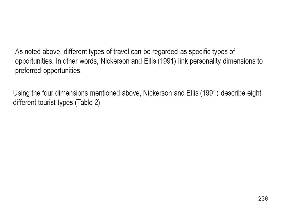 236 As noted above, different types of travel can be regarded as specific types of opportunities. In other words, Nickerson and Ellis (1991) link pers