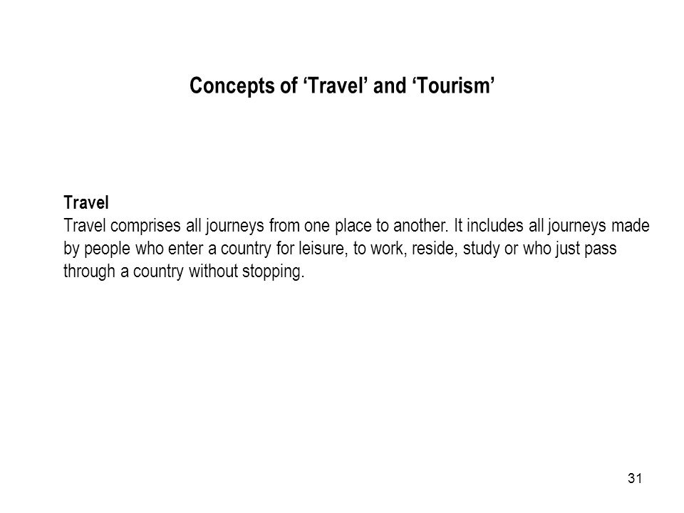 31 Travel Travel comprises all journeys from one place to another. It includes all journeys made by people who enter a country for leisure, to work, r