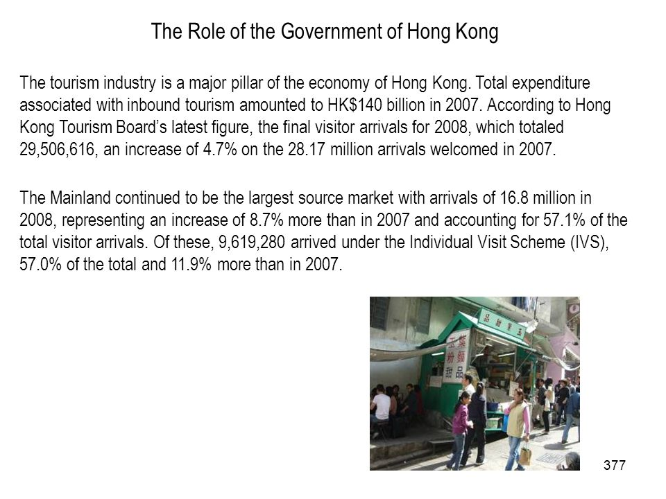 377 The Role of the Government of Hong Kong The tourism industry is a major pillar of the economy of Hong Kong. Total expenditure associated with inbo