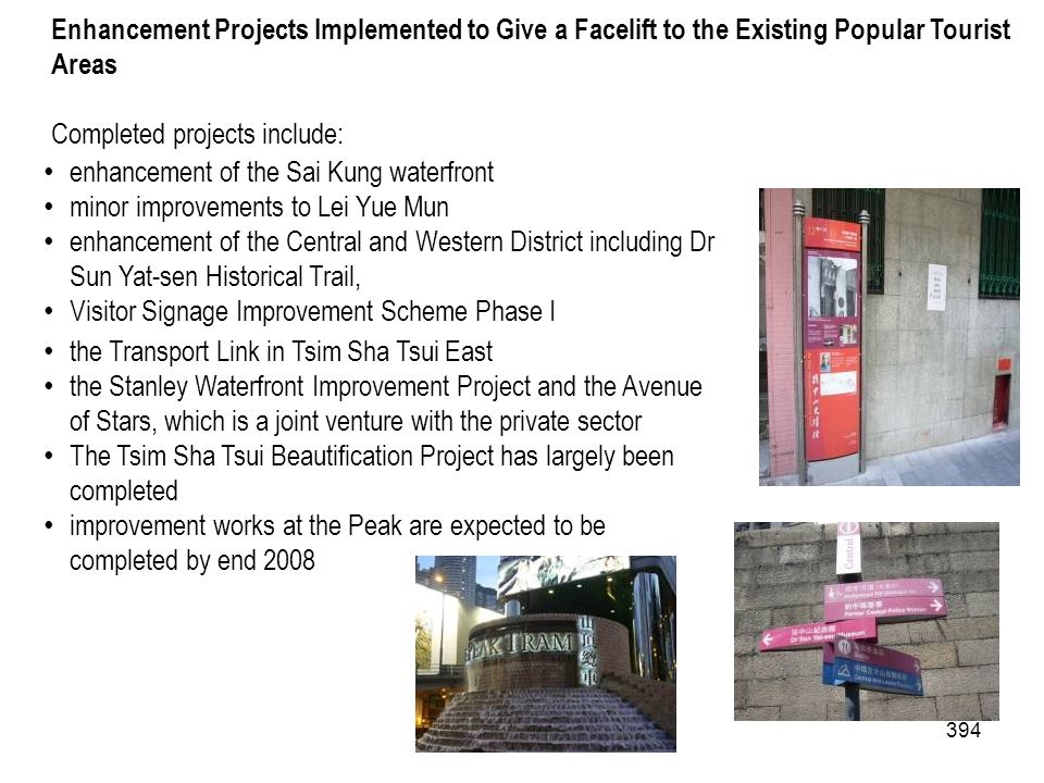 394 Enhancement Projects Implemented to Give a Facelift to the Existing Popular Tourist Areas Completed projects include: enhancement of the Sai Kung