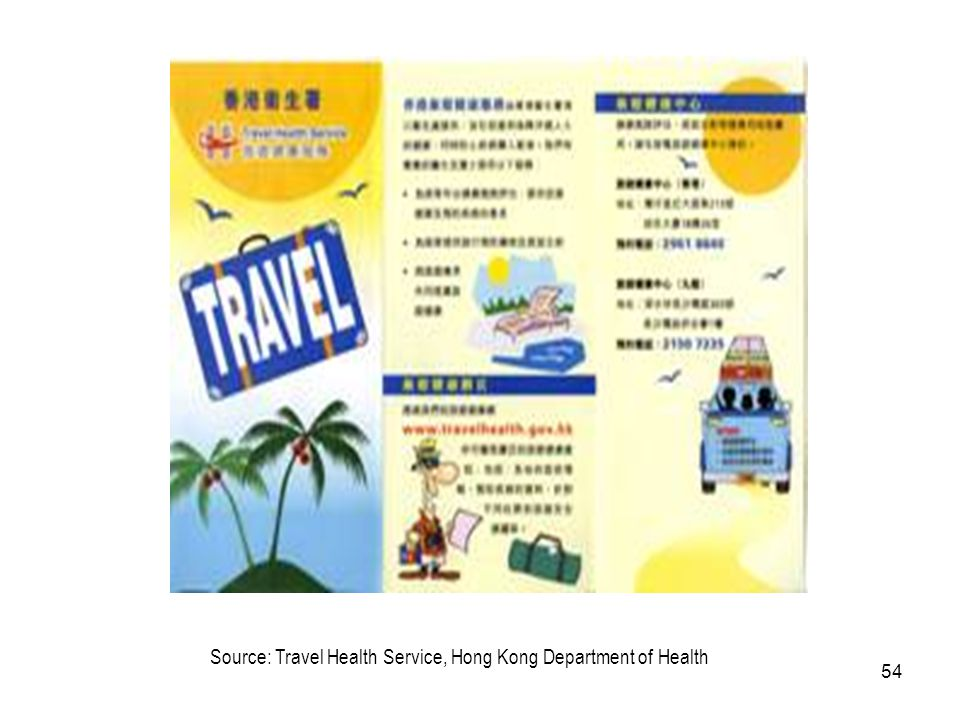 54 Source: Travel Health Service, Hong Kong Department of Health
