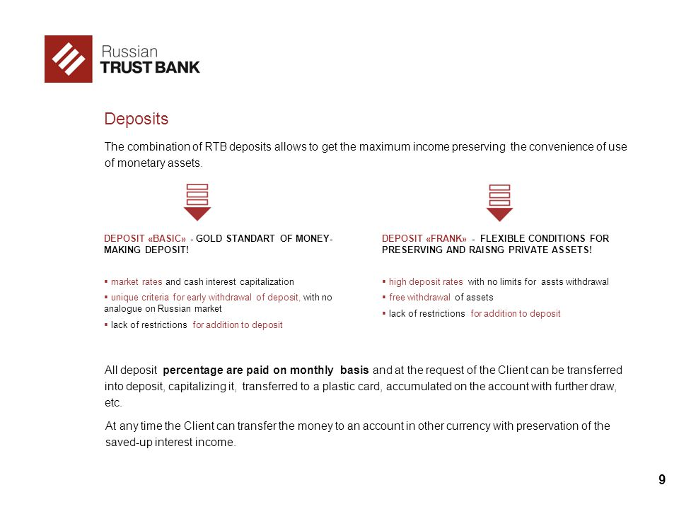 9 Deposits The combination of RTB deposits allows to get the maximum income preserving the convenience of use of monetary assets. All deposit percenta
