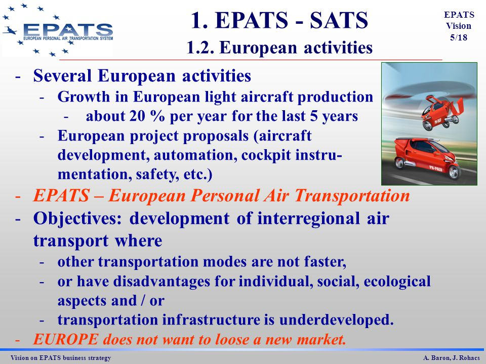 Vision on EPATS business strategy A.Baron, J. Rohacs 1.