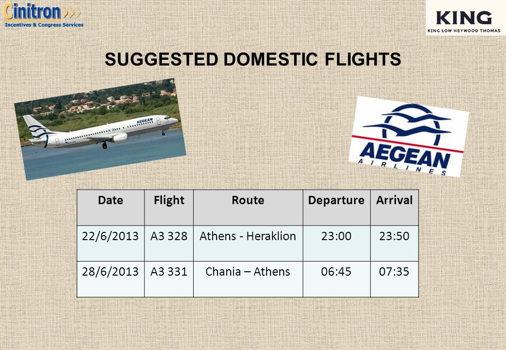 SUGGESTED DOMESTIC FLIGHTS DateFlightRouteDepartureArrival 22/6/2013A3 328Athens - Heraklion23:0023:50 28/6/2013A3 331Chania – Athens06:4507:35