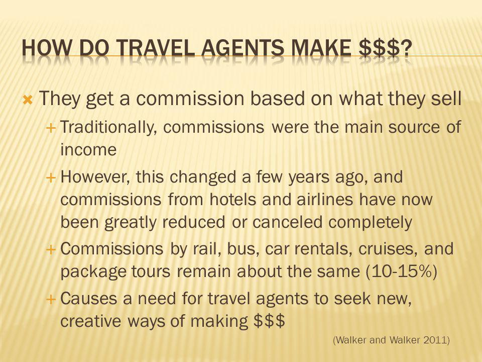 They get a commission based on what they sell Traditionally, commissions were the main source of income However, this changed a few years ago, and commissions from hotels and airlines have now been greatly reduced or canceled completely Commissions by rail, bus, car rentals, cruises, and package tours remain about the same (10-15%) Causes a need for travel agents to seek new, creative ways of making $$$ (Walker and Walker 2011)