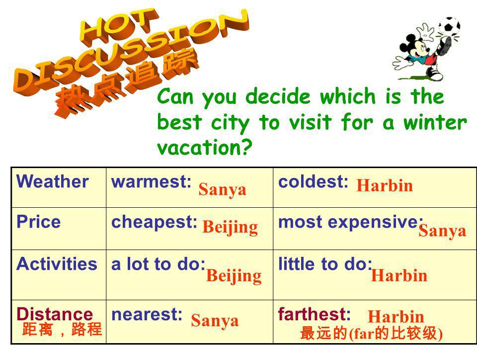Weatherwarmest:coldest: Pricecheapest:most expensive: Activitiesa lot to do:little to do: Distancenearest:farthest: Sanya Harbin BeijingSanya (far ) Sanya Harbin Beijing Harbin 2.
