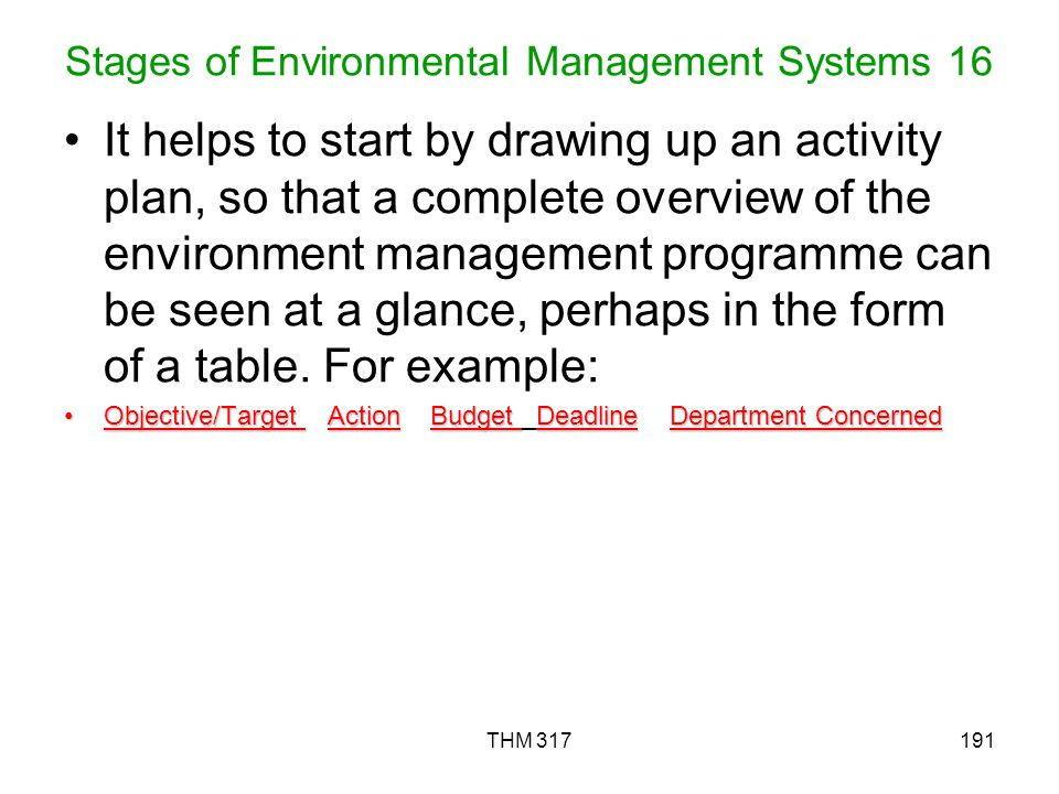 THM 317191 Stages of Environmental Management Systems 16 It helps to start by drawing up an activity plan, so that a complete overview of the environment management programme can be seen at a glance, perhaps in the form of a table.