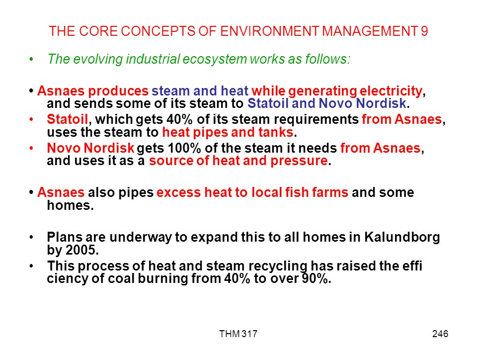 THM 317246 THE CORE CONCEPTS OF ENVIRONMENT MANAGEMENT 9 The evolving industrial ecosystem works as follows: Asnaes produces steam and heat while generating electricity, and sends some of its steam to Statoil and Novo Nordisk.