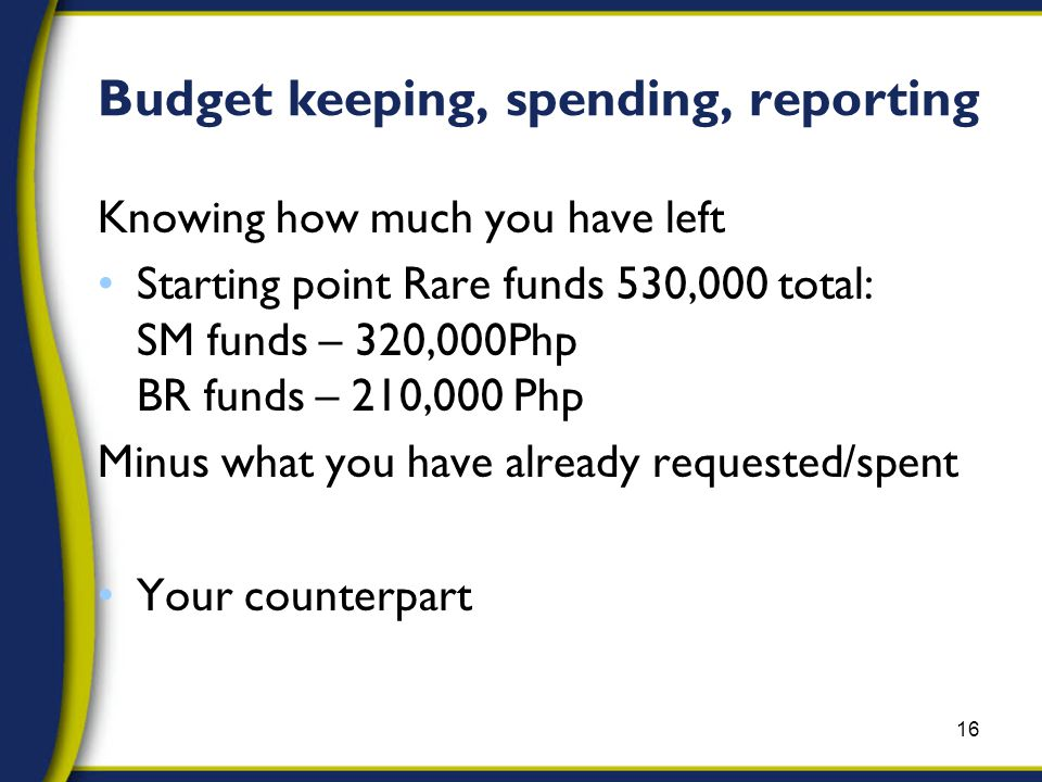 Budget keeping, spending, reporting Knowing how much you have left Starting point Rare funds 530,000 total: SM funds – 320,000Php BR funds – 210,000 Php Minus what you have already requested/spent Your counterpart 16