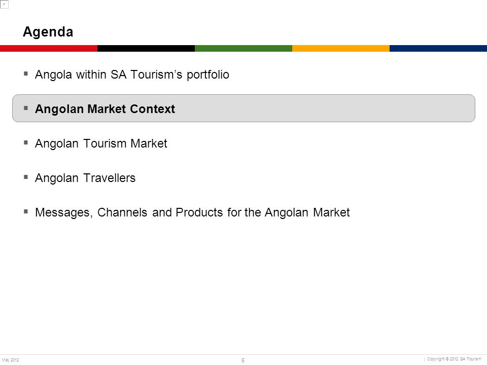 36 | Copyright © 2012 South African Tourism May 2012 Volume and Growth of Tourist Arrivals to South Africa (000s) Market Attractiveness – Key Indicators Volume and Spend of Tourist Arrivals to South Africa Source: Grail Research & Monitor Analysis; SAT Arrivals Survey, 2009–2011 (000s) KenyaDRCAngola 23% Nigeria 9% 3% 201120102009 Angola recorded a 3% growth in arrivals and a 2% increase in average spend in South Africa between 2009 and 2011 Average Spend in South Africa per Tourist (ZAR) (ZAR) KenyaDRCAngola -4% 2% Nigeria 10% -15% 201120102009 3%