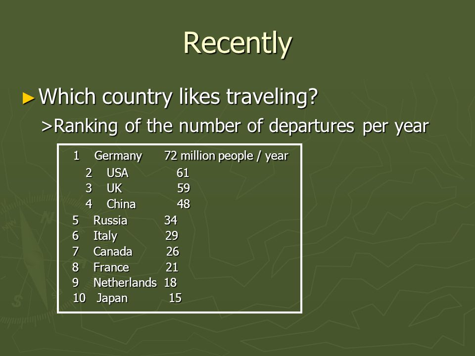 Recently Which country likes traveling? Which country likes traveling? >Ranking of the number of departures per year >Ranking of the number of departu