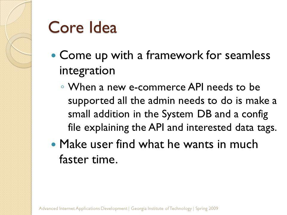 Core Idea Come up with a framework for seamless integration When a new e-commerce API needs to be supported all the admin needs to do is make a small addition in the System DB and a config file explaining the API and interested data tags.