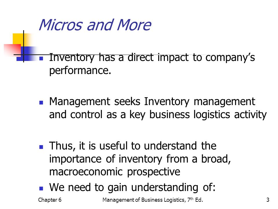 Chapter 6Management of Business Logistics, 7 th Ed.3 Micros and More Inventory has a direct impact to companys performance. Management seeks Inventory