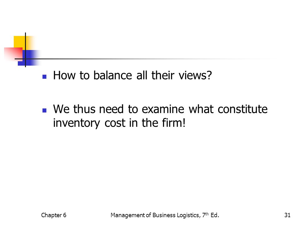 Chapter 6Management of Business Logistics, 7 th Ed.31 How to balance all their views? We thus need to examine what constitute inventory cost in the fi