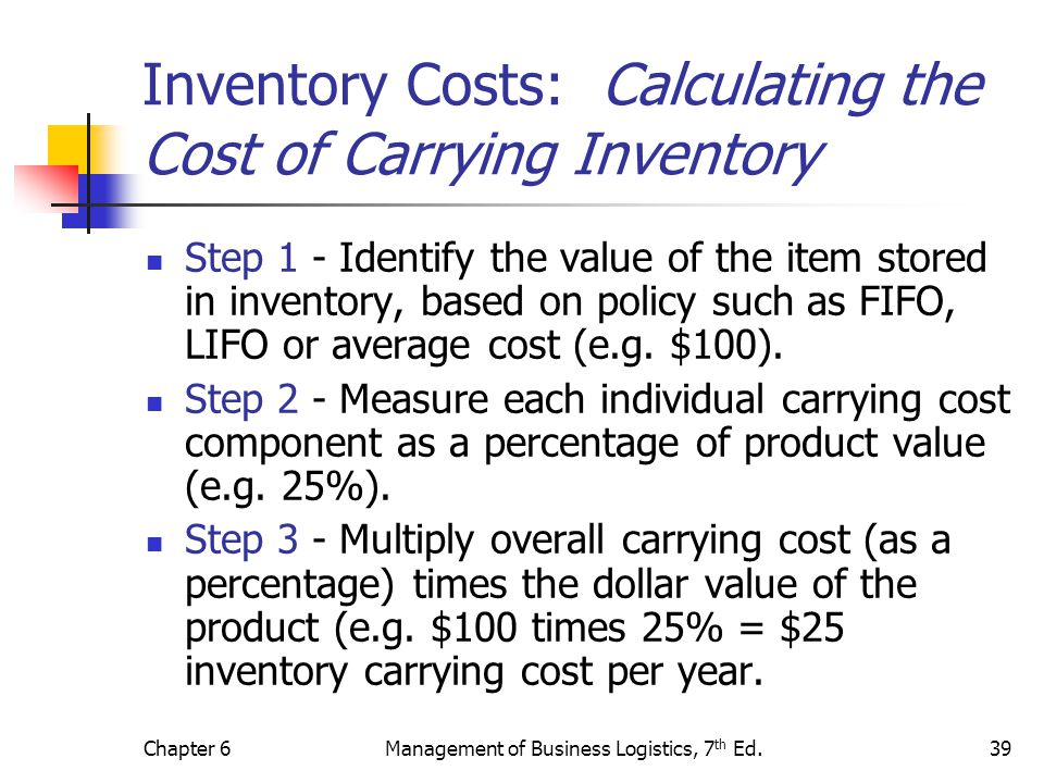 Chapter 6Management of Business Logistics, 7 th Ed.39 Inventory Costs: Calculating the Cost of Carrying Inventory Step 1 - Identify the value of the i